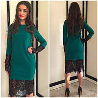 Шикарное женское платье цвет зеленый S-42 с дорогим кружевом
