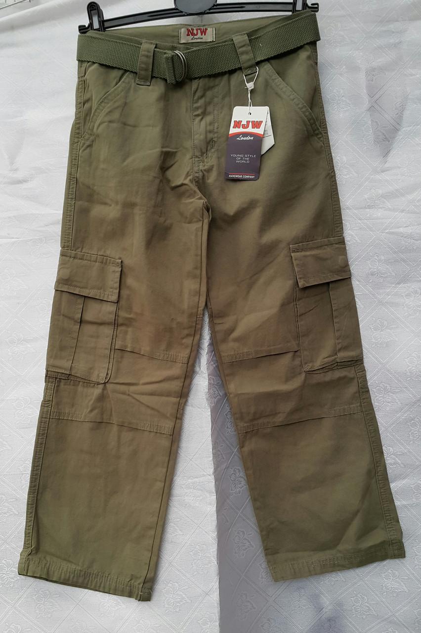 Летние брюки карго для мальчика  Хаки-пояс