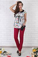 """Зауженные брюки для беремнных """"Ava"""", малиновые, фото 1"""