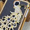 Чехол с павлином и камнями Сваровски для Samsung Galaxy S4 i9500 черный