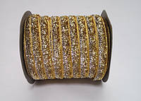 Блестящая лента 1см 46 метров декоративная золото-серебрянная