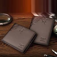 Мужской кожаный кошелек Septwolves из натуральной кожи. Горизонтальная и вертикальная модели