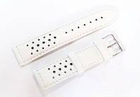 Ремешок кожаный Italian Classic для наручных часов, белый с перфорацией, 22 мм