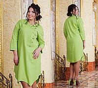 Д1056 Платье  лен размеры 50-56 в расцветках