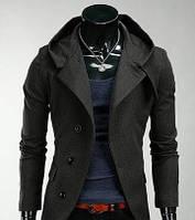 Мужское кашемировое пальто приталенное с капюшоном серое