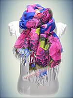 Турецкие шарфы Фауна синий (принт 2016)