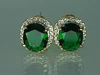 """Серьги """"Соната"""" с устойчивым  покрытием золота и крупным цирконием (зелёый)."""