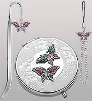 Подарочный женский набор из 3 пр-в с зеркальцем Бабочки WIN- 36