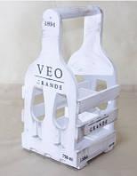 Подставка для вина Прованс Бокал на 4 бутылки белый