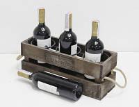 Подставка для вина Прованс Ящик на 3 бутылки коричневый