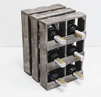Подставка для вина Прованс Ящик Вертикальный на 6 бутылок коричневый