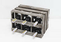 Подставка для вина Прованс Ящик Горизонтальный на 6 бутылок коричневый