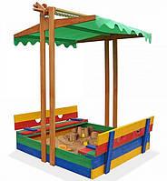 Детская песочница с опускающимся тентом