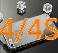Зеркальный серебряный силиконовый чехол iphone 4/4S