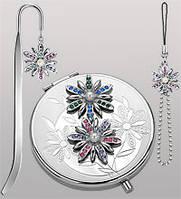 Подарочный женский набор из 3 пр-в с зеркальцем Цветы WIN- 35
