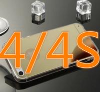 Зеркальный золотой силиконовый чехол iphone 4/4S