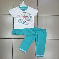 Детский комплект Лето для девочек туника и лосины Размер 4 и 5 лет