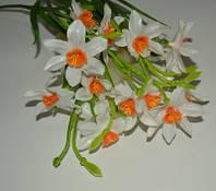 """Ветка из искусственных цветов """"Нарциссы"""" 3 цветка с бутонами"""