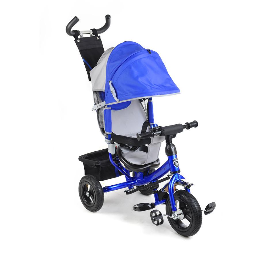 Велосипед трехколесный на надувных колесах Mini Trike 950D синий с синей рамой