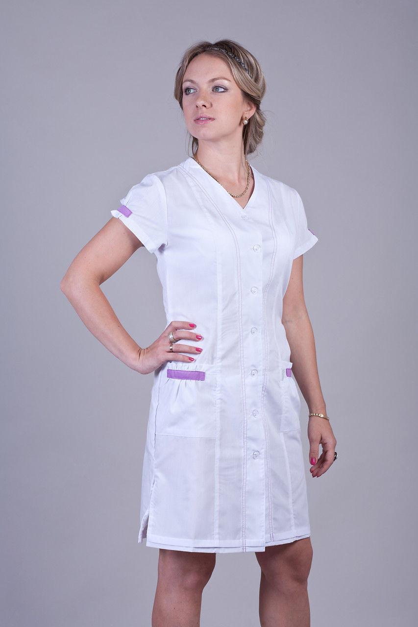 Медицинский халат белый с коротким рукавом