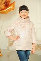 Стильная демисезонная куртка для девочки со съемными манжетами и капюшоном Бежевая