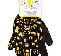 Перчатки х/б с точечным покрытием черные №526