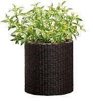 Плетеный цветник Small Cylinder Planter коричневый
