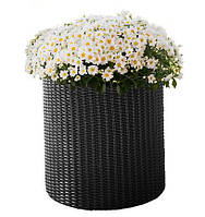 Плетеный цветник Small Cylinder Planter серый