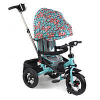 Велосипед трехколесный на надувных колесах Mars Mini Trike T400 бирюзовый с сердечками