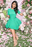 Лаконичное женское платье с короткой пышной юбкой рукав короткий на манжете фукра