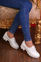 Туфли белые на тракторной подошве код 11393