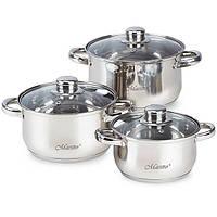 Набор кухонной посуды из нержавеющей стали 6 предметов (3 кастрюли с крышками) Maestro MR-2020-6XL