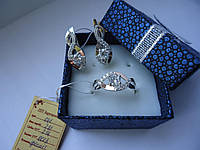 Шикарный набор серебро 925 пробы с вставками золота 375 пробы с цирконами