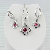 007-0049 - Милый набор с рубиновыми фианитами родий