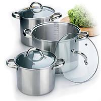 Набор кухонной посуды из нержавеющей стали 6 предметов (3 высокие кастрюли) Maestro MR-2023
