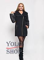 Демісезонне кашемірове комбіноване пальто з плащевкой на блискавці з капюшоном (батал) 42-62 р, фото 1
