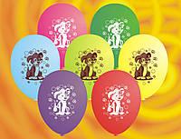 Воздушные шары Gemar, расцветка: Пастель, Собачки, Диаметр 21 см, 100 шт.