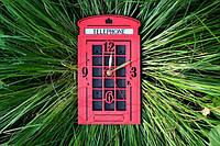 Часы Лондонская Телефонная будка / London Telephone Booth Wall Clock, фото 1