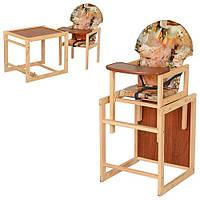 """Детский деревянный стульчик для кормления М V-002-3  """"Котята"""""""