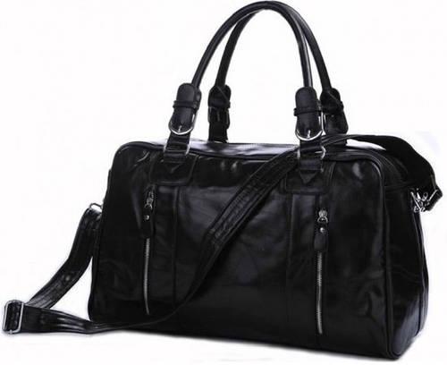 Черная дорожная кожаная сумка на 25 л  JASPER & MAINE 7190A