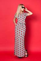 Молодежное трикотажное платье длинное в пол