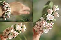 """""""Олива"""" браслет/веточка с цветами ручной работы из полимерной глины"""