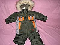 Детский зимний термо комбинезон Зимушка р.80 для мальчика олива
