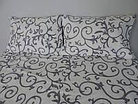 Постельное белье бязь голд евро-размер -Новий вендзель-сірий