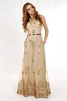 Вечернее платье в пол из гипюра с поясом мод.G0756 (р.42-46)