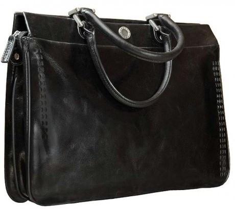Сумка-портфель деловой женский кожаный VERUS 48112A черный