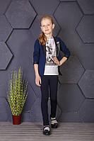 Пиджак футболка для девочек, темно-синий, 128-176