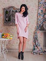 Женское платье со стильной оригинальной вышивкой в тон изделия