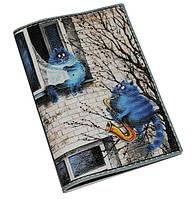 Обложка на паспорт Кошачья романтика (натур. кожа)