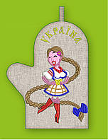 APV 43 Прихватка варежка, сувенир с вышивкой аппликацией, хлопок